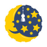 Mês dos desenhos animados com logotipo das estrelas Fotos de Stock