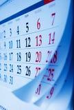 Mês em um viewd do calendário em um ângulo oblíquo Imagens de Stock