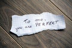 A mí, usted es perfecto imagenes de archivo