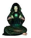 Místico fêmea com esfera de cristal ilustração royalty free