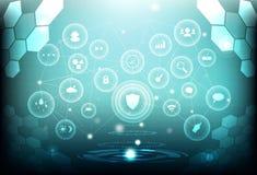 Móżdżkowa niska wielobok sieci związku cyfrowa nauka futurystyczna ilustracja wektor