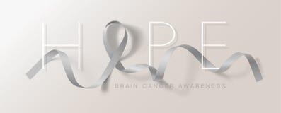 Móżdżkowego nowotworu świadomości kaligrafii Plakatowy projekt Nadzieja Realistyczny Popielaty faborek Maj jest nowotwór świadomo ilustracji