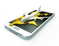 móbil 3d e bilhetes de linhas aéreas em um fundo branco Imagens de Stock
