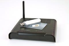 Módem y radio del ADSL Fotos de archivo libres de regalías
