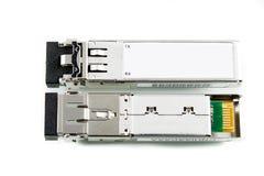 Módulo óptico de SFP del gigabit para el interruptor de red aislado Fotos de archivo libres de regalías