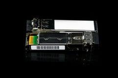 Módulo óptico de SFP del gigabit para el interruptor de red aislado Foto de archivo libre de regalías