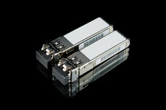 Módulo óptico de SFP del gigabit para el interruptor de red aislado Imagen de archivo libre de regalías