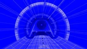 Módulo futurista do trem na trilha magnética, fundo do modelo rendição 3d Foto de Stock Royalty Free