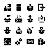Módulo, liberação de produto, vetores do Glyph da apresentação ilustração stock