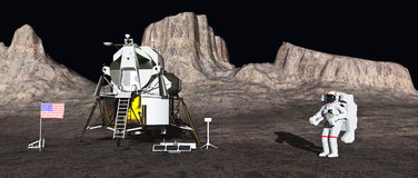 Módulo lunar y astronauta Fotos de archivo libres de regalías
