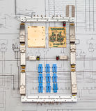Módulos da rede de SFP para o interruptor de rede como a forma do telefone celular Fotografia de Stock