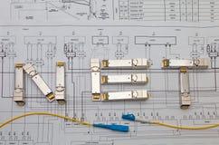 Módulos da rede de SFP para o interruptor de rede como o título LÍQUIDO Fotos de Stock Royalty Free