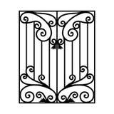 Módulos do ferro forjado, úteis como cercas, trilhos, grades de janela isoladas no fundo branco ilustração stock