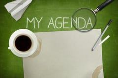 Mój agendy pojęcie na zielonym blackboard Obrazy Royalty Free