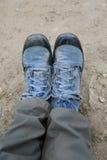 Mój brezentowi buty od Nepal w Everest wędrówce fotografia royalty free