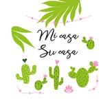 Mój dom - twój domowa wektor karta Śliczna ręka rysujący Kłujący kaktusowy druk z inspiracyjną wycena w hiszpańszczyzna tytule royalty ilustracja