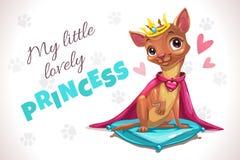 Mój mały uroczy princess Śliczny forizontal plakat z ładnym chihuahua psem ilustracja wektor