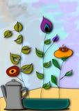 Mój Ogrodowego, Japońskiego stylu ikebany, kwitną, Abstrakcjonistyczna ilustracja ilustracja wektor