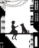 Mój przyjaciela pies, sylwetki w mieście, psa i dziewczyny ilustracji