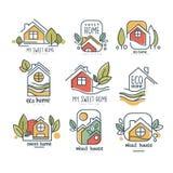 Mój słodki domowy loga set, eco dom, drewnianego domu pojęcia wektorowe ilustracje na białym tle ilustracja wektor