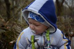 Mój słodki syn na spacerze Zdjęcie Royalty Free
