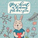 Mój serce bije właśnie dla ciebie, teksta i królika, Fotografia Royalty Free