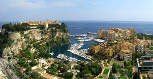 Mónaco, el districto de Rocher y de Fontvieille Fotografía de archivo