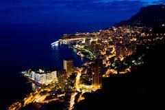 Mónaco en la noche Fotos de archivo libres de regalías