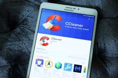 Móvil androide app de CCleaner fotografía de archivo libre de regalías