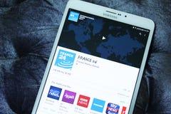 Móvil app de Francia 24 Imagen de archivo libre de regalías