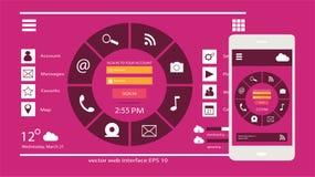 Móvil de la interfaz de usuario y color del rosa del vector del diseño web fotografía de archivo