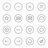 Móvil del web de Internet con la línea fondo del círculo del blanco de los iconos Imagen de archivo