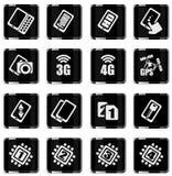 Móvil o teléfono celular, smartphone, especificaciones y funciones Imágenes de archivo libres de regalías