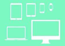 Móvil, tableta, cuaderno, sistema plano del icono del ordenador libre illustration