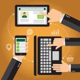 Móvil, tableta y ordenador portátil de Smartphone Fotos de archivo libres de regalías