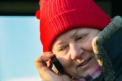 mów telefonu kobiety Zdjęcia Stock