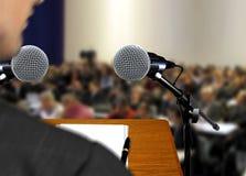 Mówca daje mowie podczas prezentaci Zdjęcia Stock
