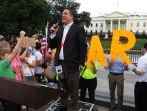 Mówca przy wiecem przy Białym domem obraz royalty free