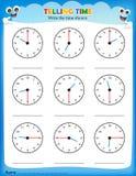 Mówić czasu worksheet ilustracja wektor