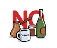 Mówić Nie alkohol i kofeina Alkohol, kofeina uwalnia Płaska wektorowa ilustracja pojedynczy białe tło ilustracja wektor