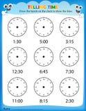 Mówić czasu worksheet Obraz Royalty Free
