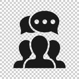 Mówi gadki szyldową ikonę w przejrzystym stylu Bąbla dialog wektorowa ilustracja na odosobnionym tle Dru?ynowy dyskusja guzik ilustracja wektor