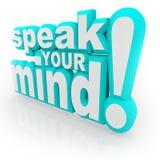 Mówi Umysłów Twój Słowa 3D Zachęca Informacje zwrotne Obrazy Stock