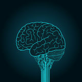 Mózg łączy urządzenie elektroniczne Pojęcie cyborg royalty ilustracja