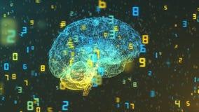 Mózg i liczby prawy widok - Duże statystyki i dane - Zdjęcie Royalty Free