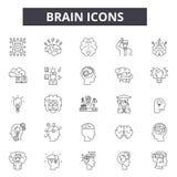 Mózg kreskowe ikony dla sieci i mobilnego projekta Editable uderzenie znaki Móżdżkowe konturu pojęcia ilustracje ilustracji