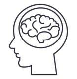 Mózg w głowie, brainstorm, w umysłu wektoru linii ikonie, znak, ilustracja na tle, editable uderzenia ilustracji