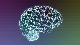 Mózg z iluminującymi neuronami w synapses ilustracja wektor