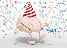 Mózg z rękami, nogami, przyjęcie nakrętką i dmuchawami, Fotografia Stock