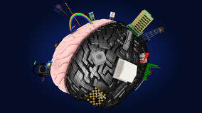 Mózg z symbolami dwa hemisfery -5 Obrazy Stock